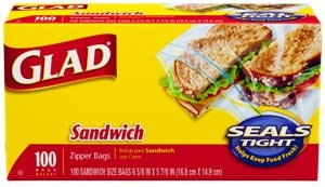 Glad Zipper Sandwich Bags, 100-Count Boxes (Pack of 12) Product Shot