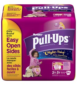 HUGGIES Pull-Ups Training Pants, Nighttime, Girls, 2T-3T, 54-Count Product Shot