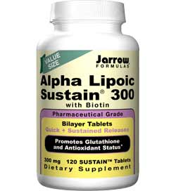 Jarrow Formulas Alpha Lipoic Sustain 300, Value Size, 300mg, 120 Bilayer Tablets Product Shot