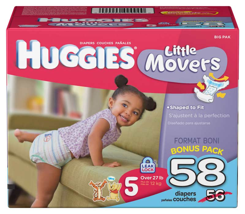 HUGGIES Little Movers Diapers come in size 3 ( lb.), size 4 ( lb.), size 5 (>27 lb.) and size 6 (>35 lb.). From first hug to first step, keep HUGGIES Little Movers Diapers on hand as your baby explores the world. *vs. leading brand absorbent pad, when wet. Recommended storage conditions: Avoid excessive heat (over °F or 40°C)/5(K).