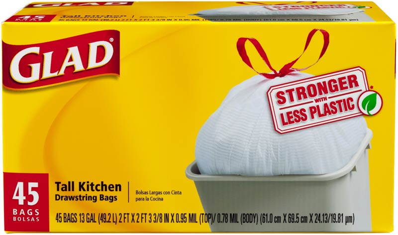 Glad Tall Kitchen Drawstring White 13 Gallon 45 Ct Packaging May Vary Health