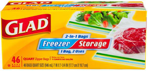 Glad 2-in-1 Zipper Clear Quart Bags, 46-Count Boxes (Pack of 3) Product Shot