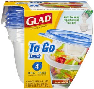Glad to Go Lunch Reusable Plastic Containers, 8-Count Package of 32-Ounce Containers, 1.5-Ounce Dressing Cups, and Lids (Pack of 6) Product Shot