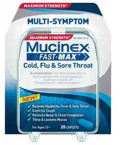 Maximum Strength Mucinex Fast-Max Cold, Flu and Sore Throat Caplets
