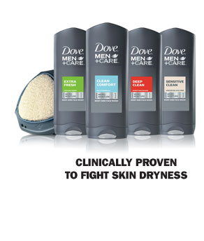 Dove ® Men+Care Body and Face Wash- Clinically proven to fight skin dryness