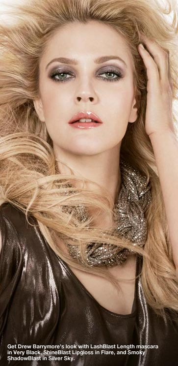 Get Drew Barrymore's look with LashBlast Length mascara in Very Black, ShineBlast Lipgloss in Flare and Smoky ShadowBlast in Silver Sky.