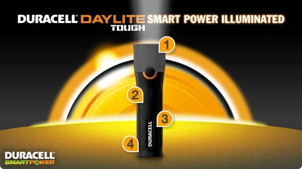 Duracell Daylite Tough Flashlight Smart Power Illuminated