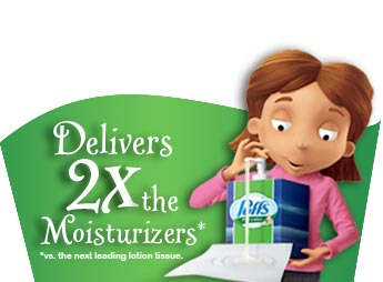 Delivers 2X the Moisturizers* *vs. the next leading lotion tissue.