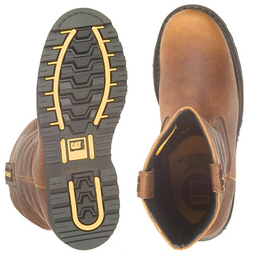 Boot features mahogany leather upper and is waterpoof from toe to heel