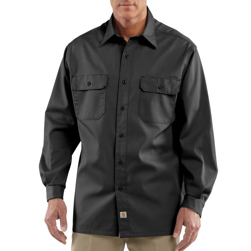 Amazon.com: Carhartt Men's Twill Long Sleeve Work Shirt Button ...
