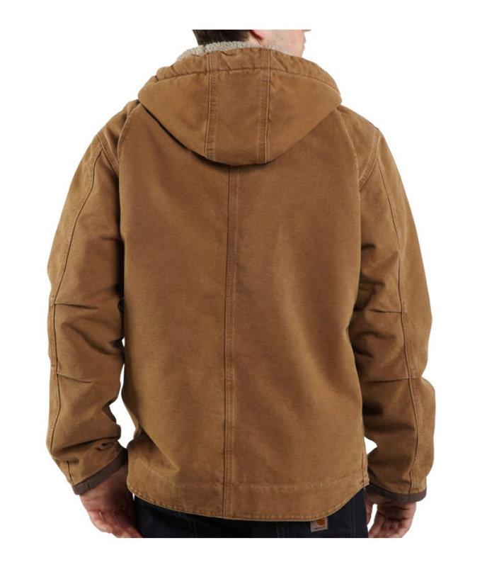 ee3fbe71c58 Amazon.com  Carhartt Men s Big   Tall Sherpa Lined Sandstone Hooded ...