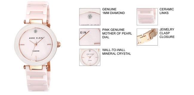 2d79544fd Amazon.com: Anne Klein Women's AK/1018RGLP Diamond Dial Rose Gold ...