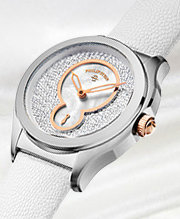 Prestige: This prestigous compilation of Swiss Made timepieces features distinctive design, all polish steel cases, pave diamond accents, and striking dial textures.
