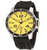 50% Off Tommy Hilfiger Men's Black and Yellow Watch