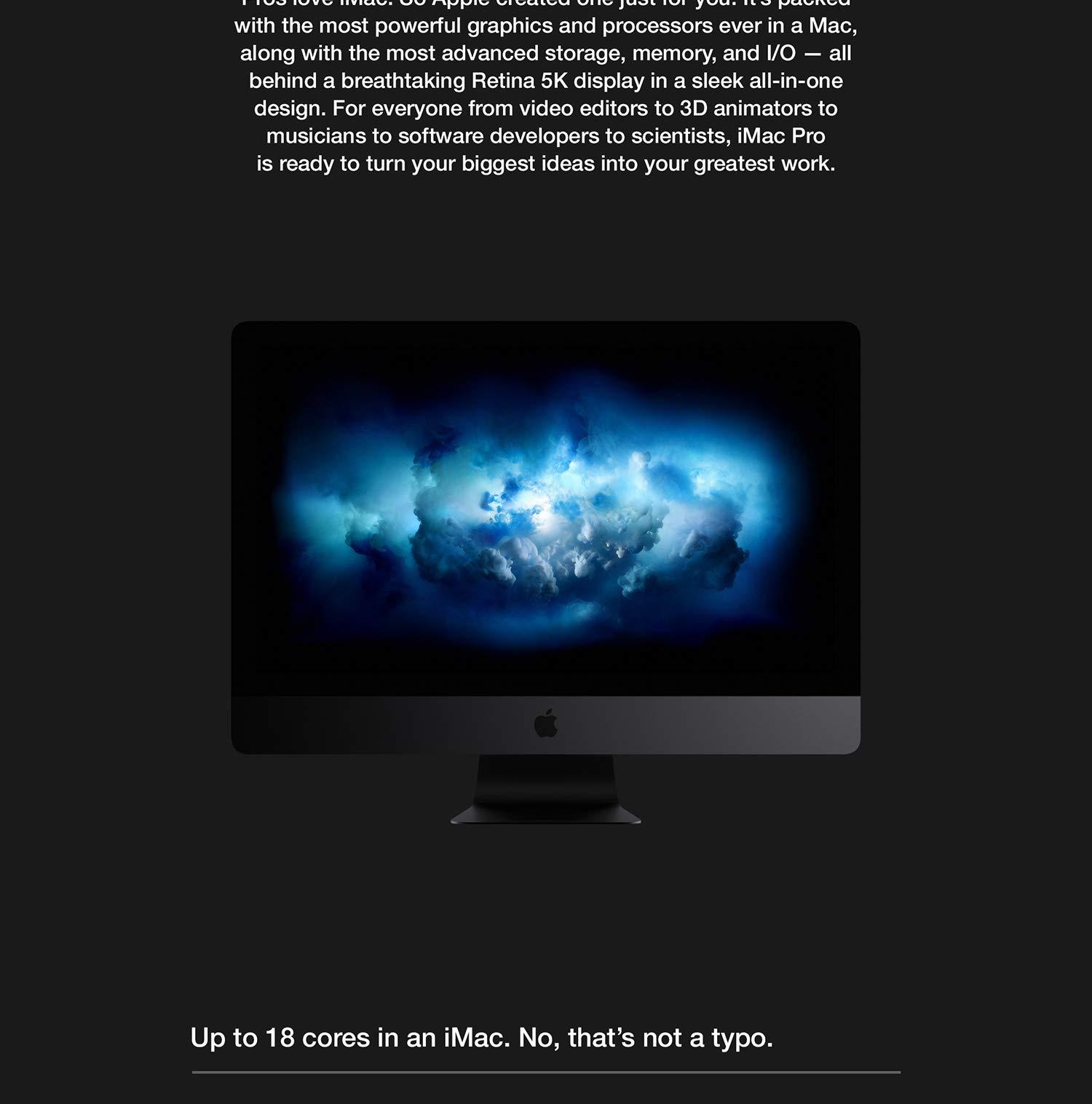 Apple iMac Pro (27-inch Retina 5K display, 3 2GHz 8-core Intel Xeon W, 32GB  RAM, 1TB SSD) - Space Gray