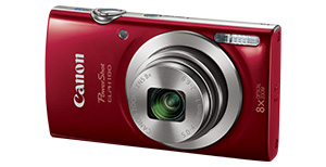 elph180 main. V301286811  - Canon PowerShot ELPH 180 Digital Camera w/Image Stabilization and Smart AUTO Mode (Red)