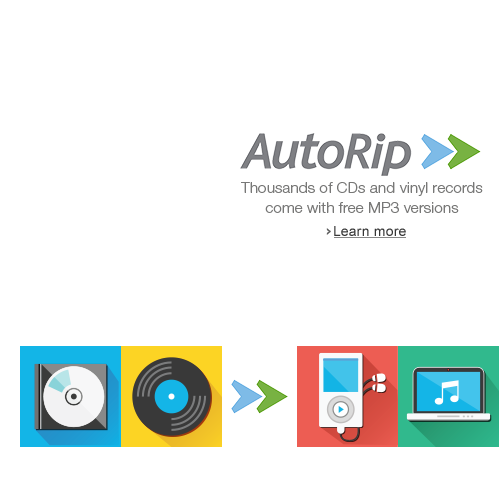 Thousands of CDs and vinyl records come with free MP3 versions. Learn more  about Autorip