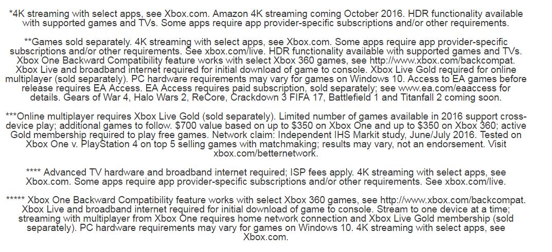 Xbox One S: TnC