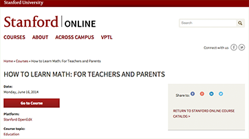 Online Course from Stanford: How to Learn Math for Teachers and Parents