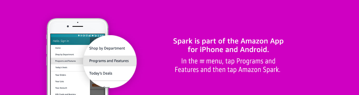 Spark is part of the Amazon iPhone App. In the main menu, tap Programs and Features and then tap Spark.
