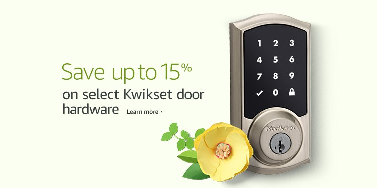 15% off spring promo 2017 on Kwikset door hardware