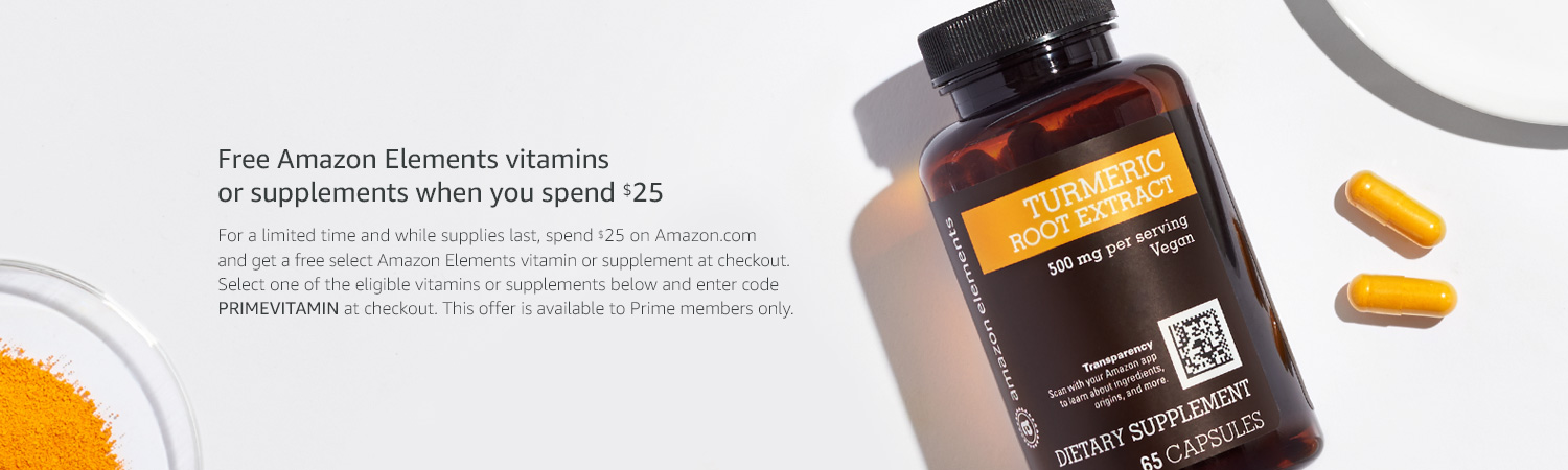 Free Amazon Elements Vitamins when you spend $25