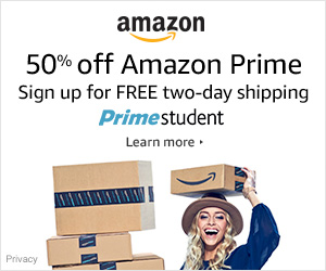 50% off amazon prime sign up for free two-day shipping primestudent