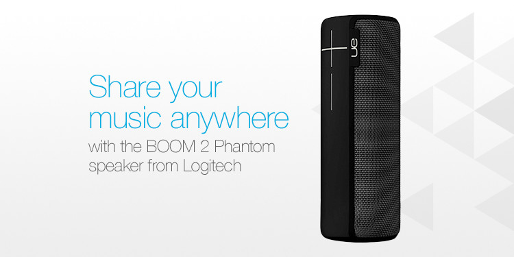 Share your music anywhere with the BOOM 2 Phantom speaker from Logitech