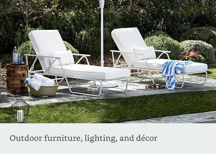 Outdoor furniture, lighting, and decor