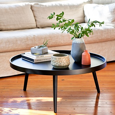 Style a coffee table by shape