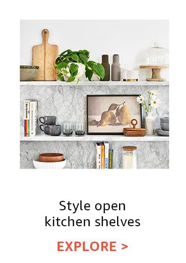 Style open kitchen shelves