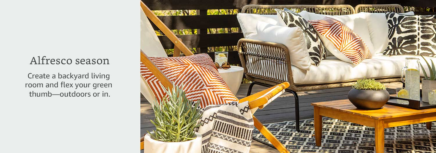 Alfresco season. Create a backyard living room and flex your green thumb--outdoors or in