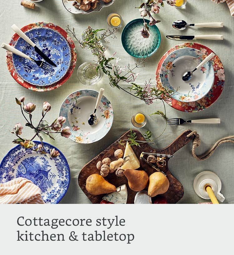 Cottagecore style: kitchen and tabletop