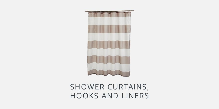 Shower curtains, hooks and liners