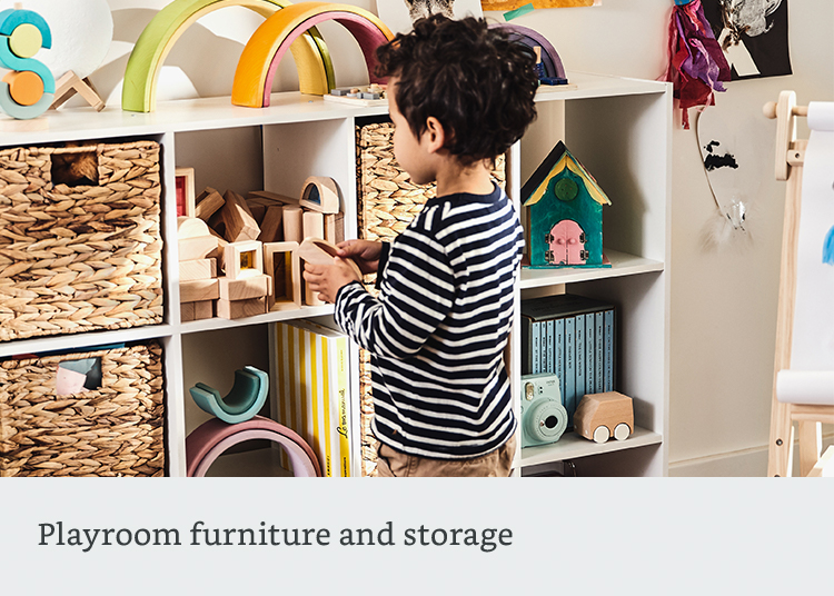 Playroom furniture and storage
