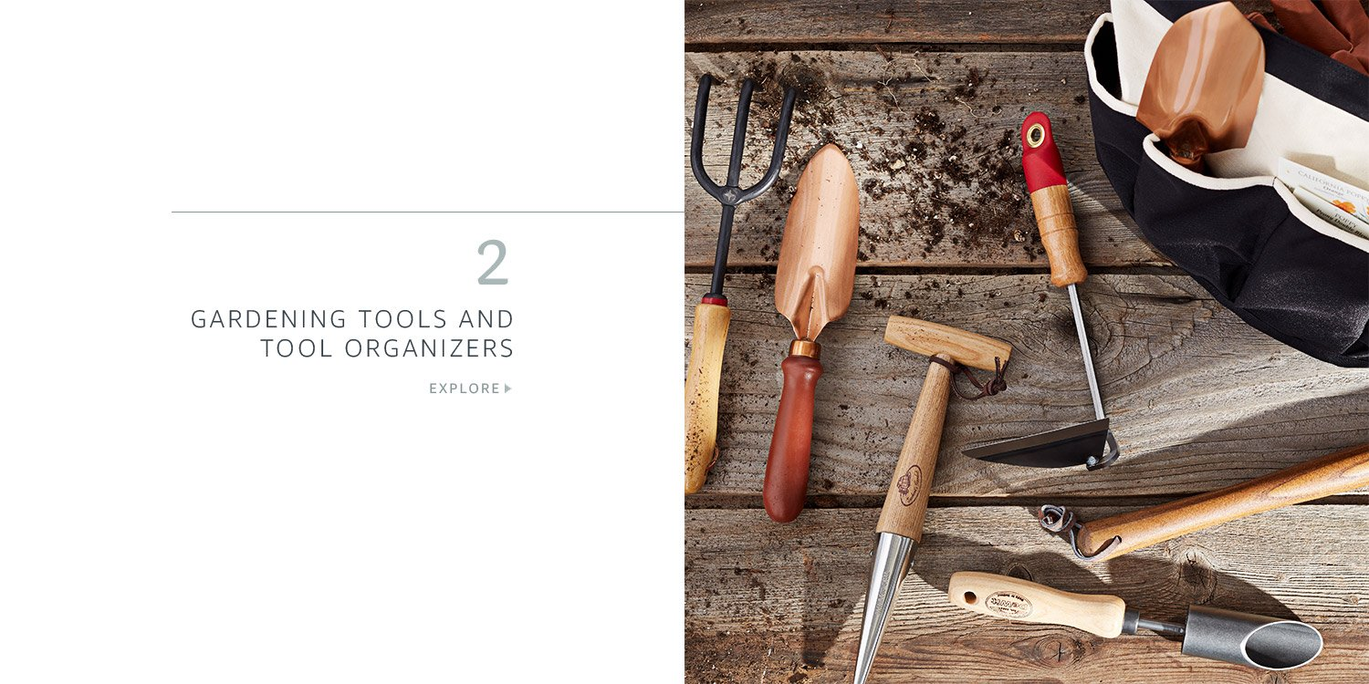 Gardening tools and tool organizers