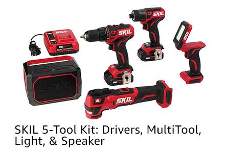 SKIL 5-Tool Kit: Drivers, MultiTool, Light, & Speaker
