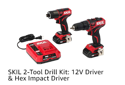 SKIL 2-Tool Drill Kit: 12V Driver & Hex Impact Driver