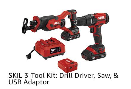 SKIL 3-Tool Kit: Drill Driver, Saw, & USB Adaptor