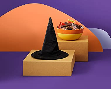 witch hat with bowl of candy