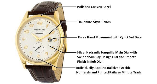 Amazon Com Stuhrling Original Men S Automatic Gold Tone Stainless