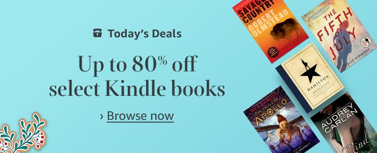Up to 80% off select Kindle Books