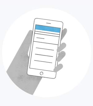 An illustration of a hand holding a mobile device.