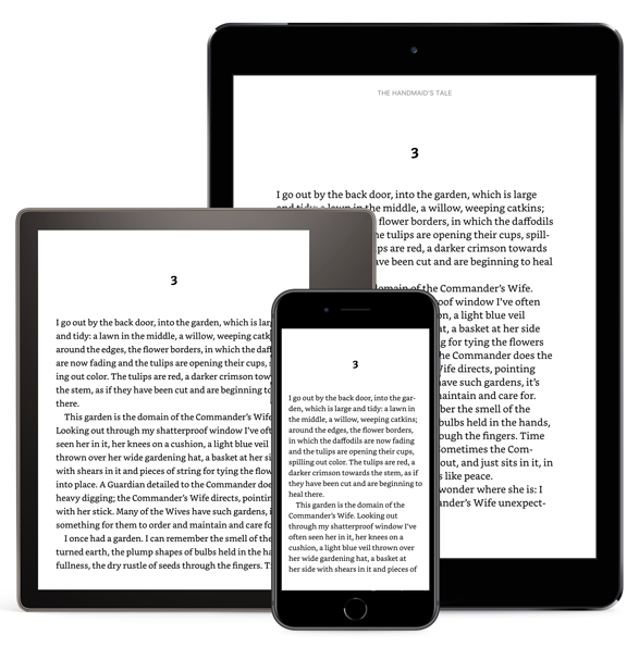 E-reader, phone, and tablet