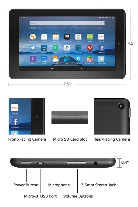Amazon Com Amazon Fire Tableta Con Pantalla De 7 Wifi 8 Gb Negro Incluye Ofertas Especiales Kindle Store