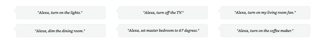 Alexa, turn on the lights. | Alexa, turn off the TV.