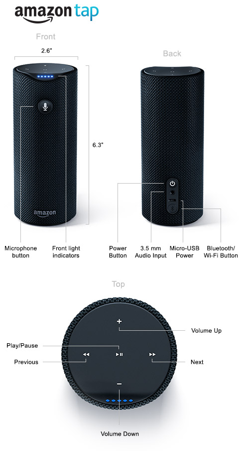 amazon tap portable bluetooth speaker alexa enabled. Black Bedroom Furniture Sets. Home Design Ideas