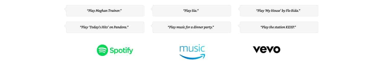 Alexa, play Meghan Trainor. Alexa, play Sia. Alexa, play My House by Flo Rida. Alexa, play today's hits on Pandora. Alexa, play music for a dinner party. Alexa, play the station KEXP.