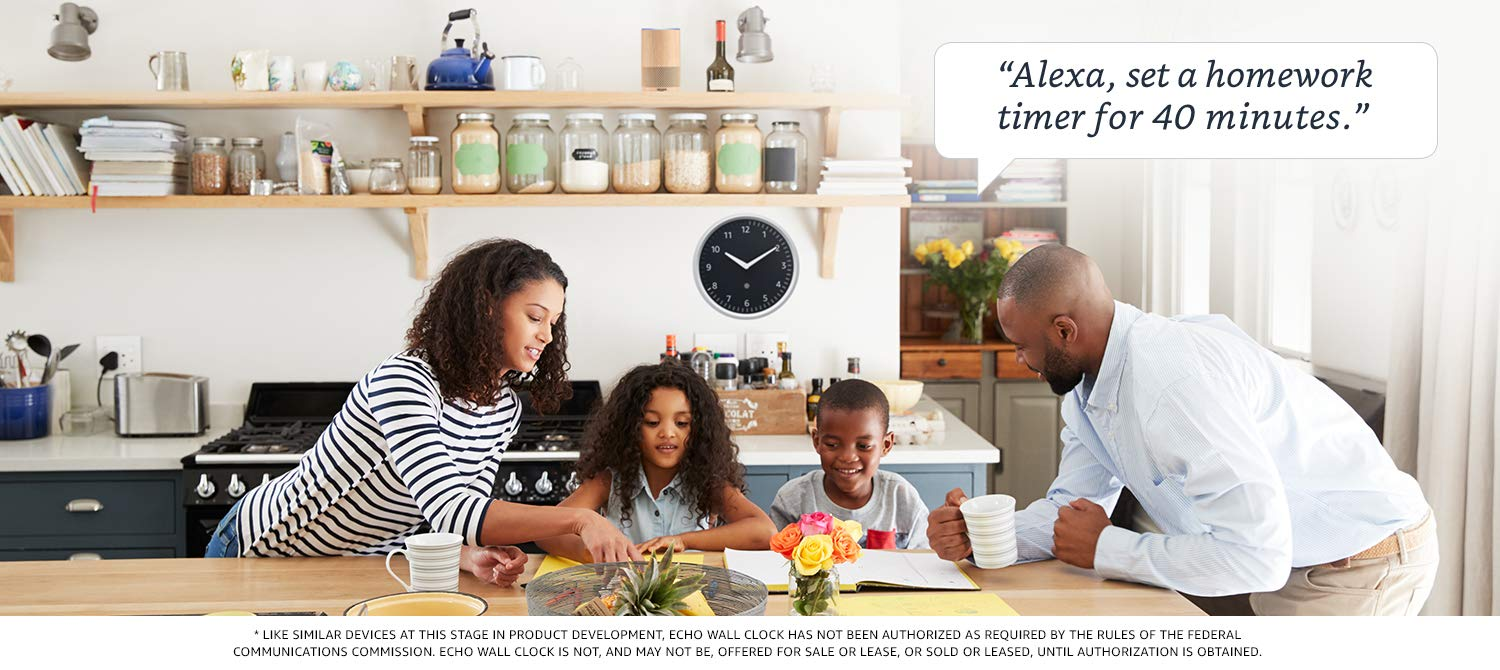 Like similar devices at this stage in product development, Echo Wall Clock has not been authorized as required by the rules of the federal communications commission. Echo Wall Clock is not, and may not be, offered for sale or lease, or sold or leased, until authroization is obtained.