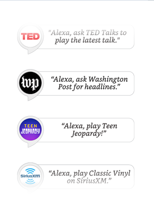 Alexa has Skills like Jeopardy, Washington Post headlines, SiriusXM and more